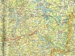 Německá špionážní mapa zachycuje čs. objekty opevnění v jižních Čechách ve...