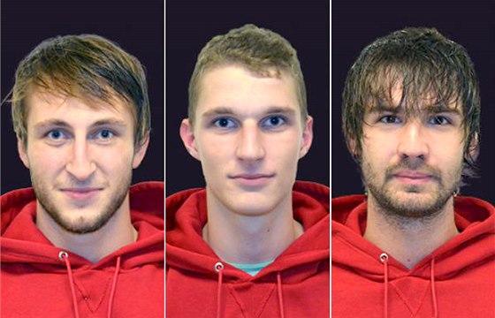 Jindřichohradečtí basketbalisté (zleva) Michal Fröhde, Roman Vach a Filip Sahan
