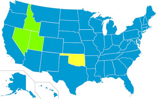 Popravu zastřelením využívá v roce 2014 jediný americký stát, Oklahoma (vyznačena žlutě), a to pouze jako druhou možnost, přednost má smrtící injekce. V minulosti využívaly služeb popravčí čety rovněž státy Idaho, Nevada a Utah (vyznačeny zeleně). Ostatní státy USA popravu zastřelením nikdy nepraktikovaly.