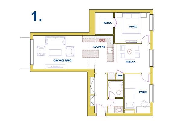 Varianta 1: úložné prostory řeší zejména šatna, kuchyně je vložená mezi obývací