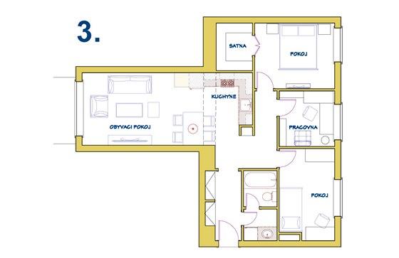 Varianta 3: K dispozici je menší prostor pro jídelnu a kuchyň, zato vznikla