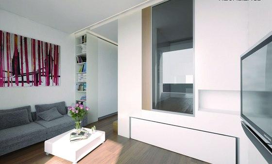 Vizualizace: Obývací část po zasunutí lůžka - velké prosklení přivádí do