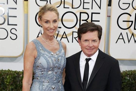 Michael J. Fox a jeho man�elka Tracy Pollanov� (12. ledna 2014)
