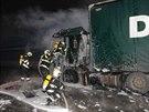 Požár polského kamionu v Lochkovském tunelu (13.1.2014)