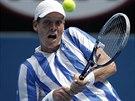 """BEKHEND """"ARGENTINCE"""". Takto returnoval z bekhendu Tomáš Berdych v zápase s..."""