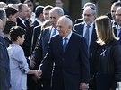 Izraelský prezident Šimon Peres a premiér Benjamin Netanahu při příchodu na...
