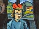 """František Foltýn: """"Děvčátko s červenou stuhou ve vlasech"""", 1922, 100,5 x 75,5"""