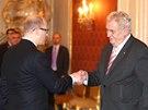 Prezident Miloš Zeman jmenoval Bohuslava Sobotku premiérem ČR. (17. ledna 2014)