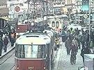 Tramvaj v Praze na Letenském náměstí srazila devětaosmdesátieltého muže (záběr