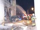 Hasiči likvidují požár v budově České pošty na Masarykově náměstí v Karviné....