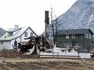 Následky požáru v norském historickém městečku Laerdalsöyri (19. ledna 2014)