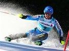 Mattias Hargin ve slalomu v Adelbodenu.