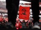 Loučení fanoušků Benfiky Lisabon se zesnulou fotbalovou legendou Eusebiem.