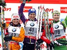 Tři nejlepší z Anterselvy (zleva): druhá Andrea Henkelová, vítězka Anais...