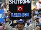 Na pondělí demonstranti naplánovali takové protesty, aby centrum Bangkoku...