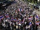 Tis�ce lid� se v pond�l� dopoledne vypravily zablokovat centrum Bangkoku.