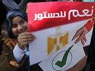 Na podporu armády se v Káhiře sešla demonstrace. Na plakátě, který drží mladá...