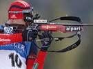 Rusk� biatlonista Jevgenij Ustjugov b�hem z�vodu Sv�tov�ho poh�ru v Ruhpoldingu