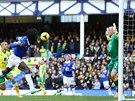 JEN TĚSNĚ MIMO. Romelu Lukaku z Evertonu (v modrém) takhle promarnil šanci v...