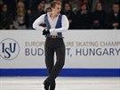Krasobruslař Michal Březina během volného programu na evropském šampionátu v...