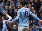 Edin Džeko z Manchesteru City slaví svou trefu do sítě Cardiffu.