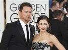 Channing Tatum a jeho manželka Jenna Dewanová (12. ledna 2014)