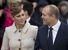 Zara Phillipsová a její manžel Mike Tindall  (25. prosince 2012)