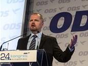 Petr Fiala při svém projevu na kongresu ODS (18. ledna 2014)