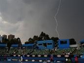 BLESK. Snímek z Melbourne Parku zachycující hru pár minut před přerušením kvůli...