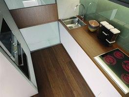 Vizualizace: Pohled do malé, ale funkční kuchyňky