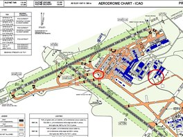 V mapce je vyznačena poloha hasičských stanic na letišti: velkým kroužkem