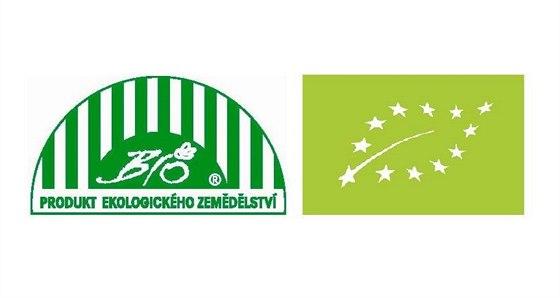 Loga pro bioprodukty, verze česká a EU.