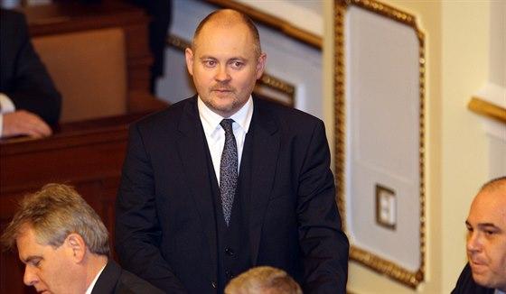 Michal Hašek z ČSSD během jednání Sněmovny (21. ledna 2014)