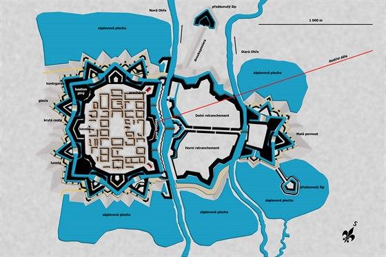 Půdorysný náčrt uspořádání bastionové pevnosti Terezín z let 1780 až 1791.