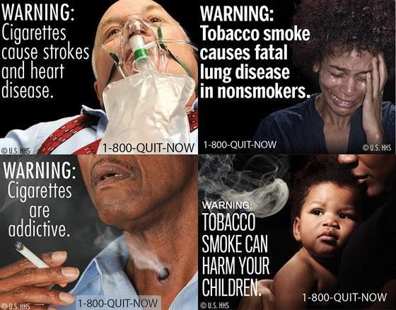 Varování na krabičkách s cigaretami, schválené v roce 2011, lépe znázorňuje...