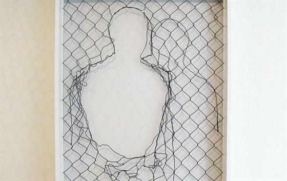 Jedním z témat Týcovy výstavy je překračování hranic. Pletivo na obrazy třeba...