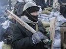 Odhodlaný demonstrant v kyjevských ulicích (27. ledna 2013)