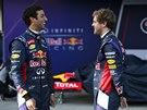 V RED BULLU JE VESELO. Sebastian Vettel (vpravo) a Daniel Ricciardo s novým