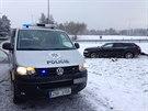 Ukadené audi havarovalo při sjezdu na Mirošovice (22.1.2014)