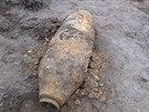 Letecká puma ze 2. světové války, kterou bagrista našel na skládce u obce Uhy...