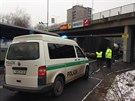 Nehoda dvou kamionů na Spořilovské ulici v Praze 4, při níž byl zraněn jeden z...