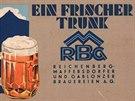 Dobová reklama na vratislavické a jablonecké pivo.
