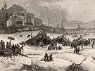 Zamrzlá řeka Temže v Londýně v únoru 1814