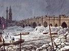 Zamrzlá Temže na malbě z února 1814