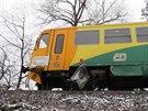 Snímek z nehody, při níž ve čtvrtek nedaleko Šumperka došlo ke srážce vlaku a...