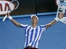 JÁ TO DOKÁZAL. Tomáš Berdych slaví postup do semifinále Australian Open.