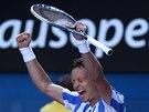 VÍTĚZNÉ OPOJENÍ. Tomáš Berdych slaví postup do semifinále Australian Open.