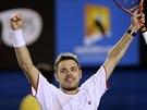 Stanislas Wawrinka se raduje po vítězství ve čtvrtfinále Australian Open.