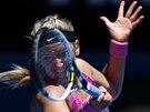 ZA MŘÍŽÍ STRUN. Viktoria Azarenková ve čtvrtfinále Australian Open.