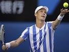 NA SERVISU. Tomáš Berdych v semifinále Australian Open.